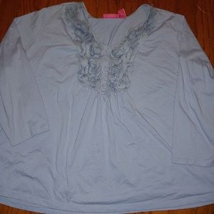 Periwinkle knit blouse with shredded neckline